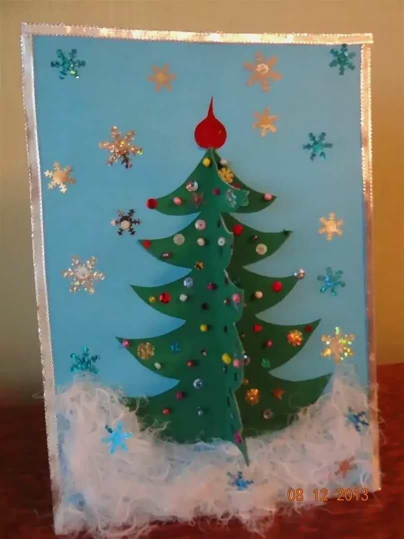 аппликация новогодняя открытка елочка старшая группа