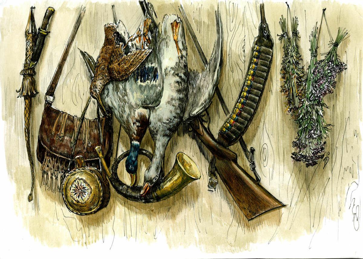картинки декупаж охотник
