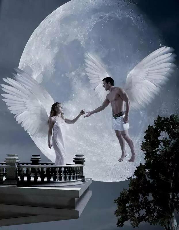 Картинки о любви ангелы девушка и парень