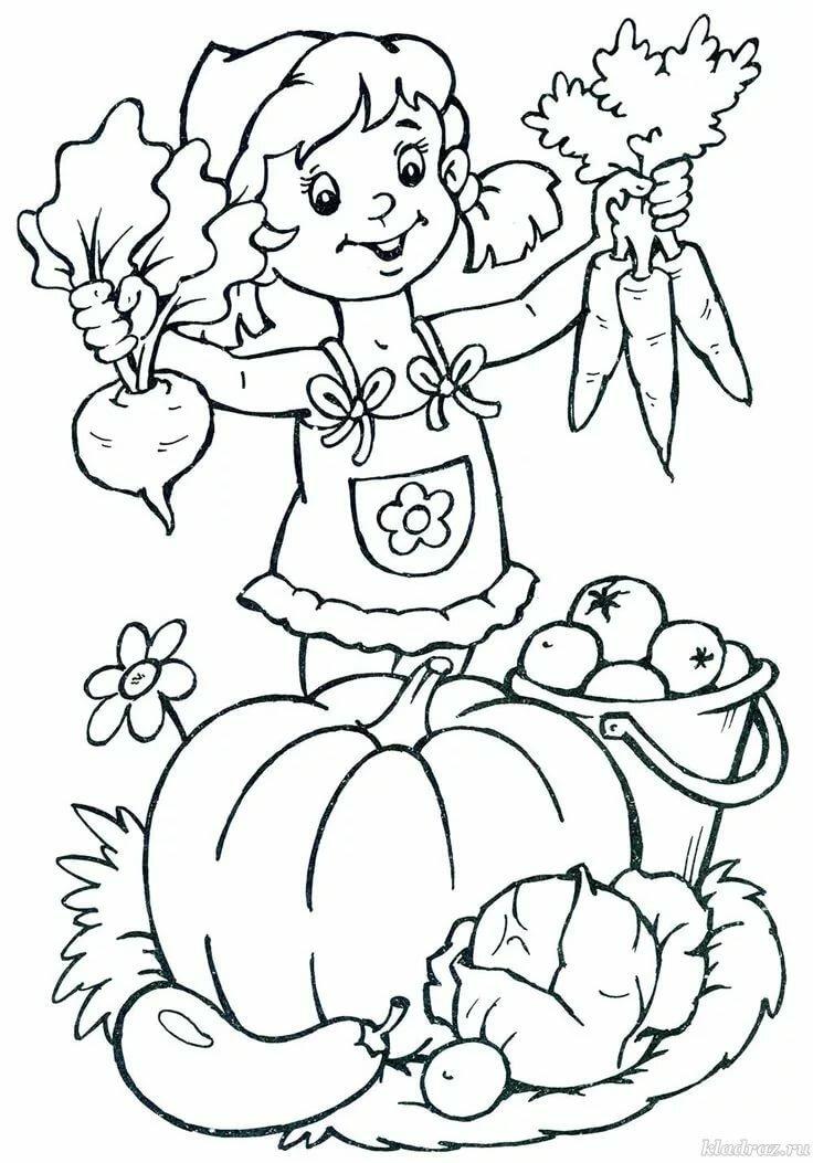 Осенняя картинка для детского сада раскраска