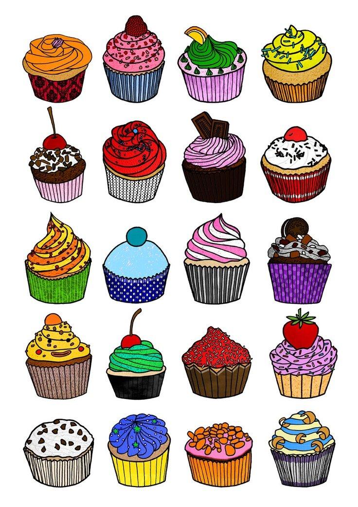 Картинки пироженок для срисовки