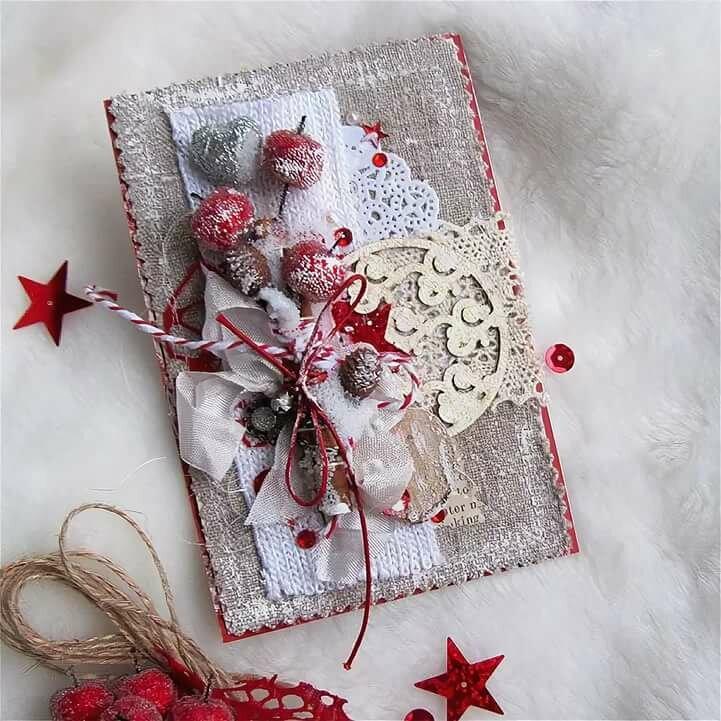 открытки в стиле скрапбукинг своими руками пошагово к новому году для визита