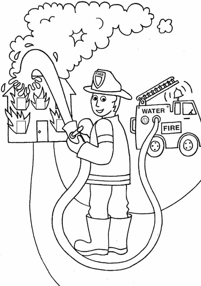 Черно белый рисунок по пожарной безопасности
