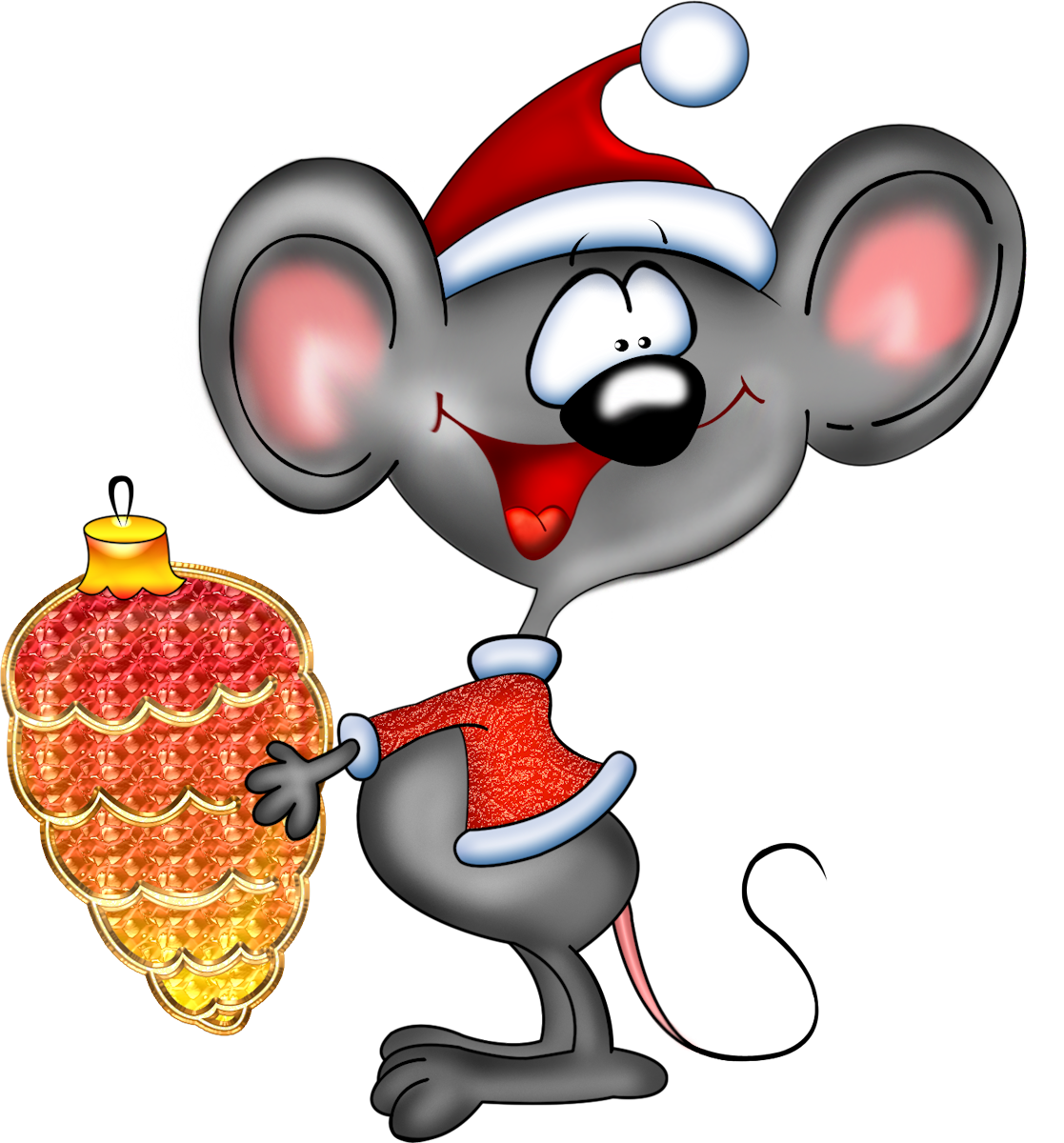 Картинка мышка прикольная новогодняя