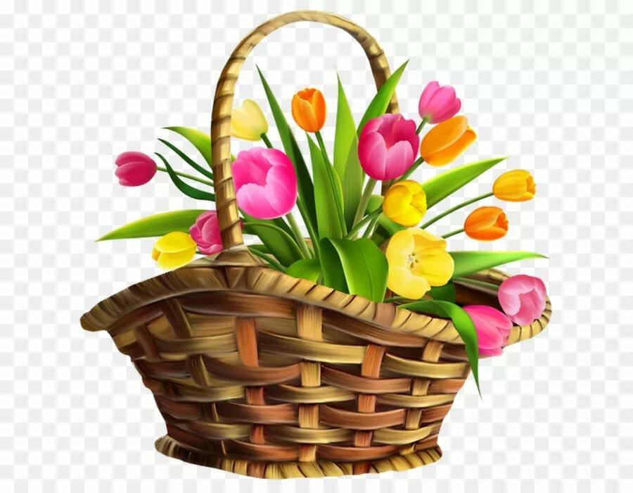 Картинка корзинки с цветами для детей
