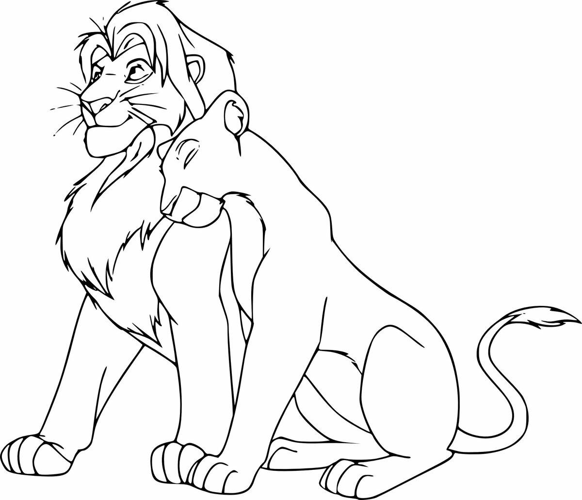Картинки король лев симба и нала для срисовки