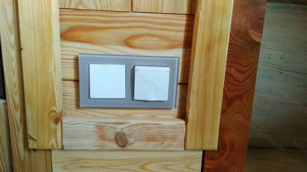 Установка внутренних розеток и Выключателя в деревянном доме