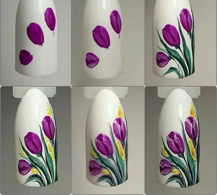цветы на ногтях пошаговое фото для начинающих ногтя руке