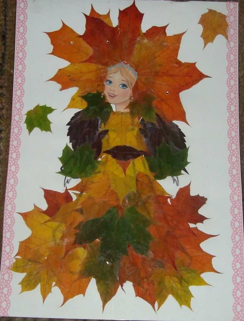 Картинка девушка осень из листьев фото шаблоны