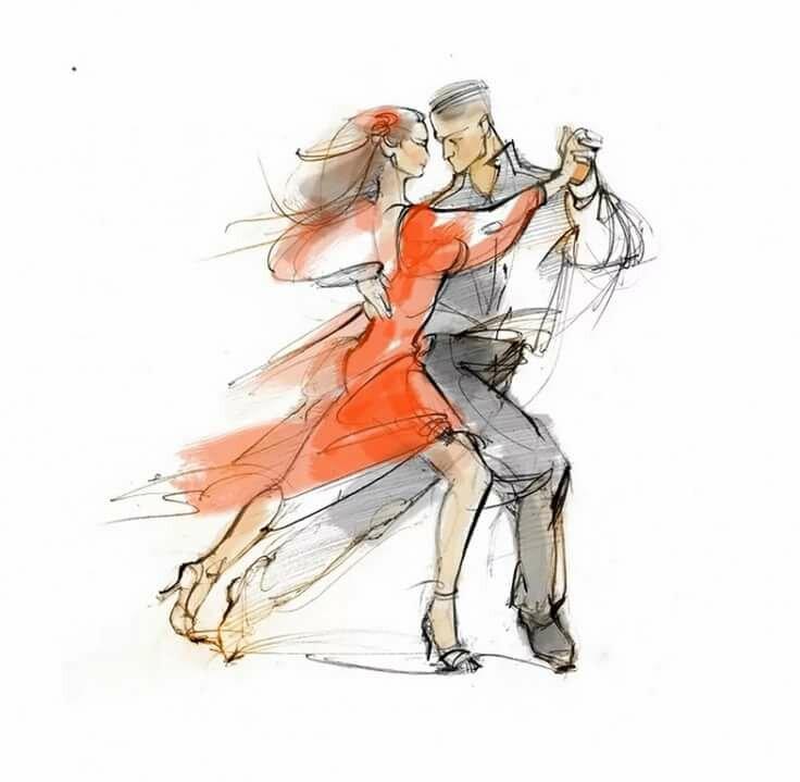 Картинки бальных танцев карандашом