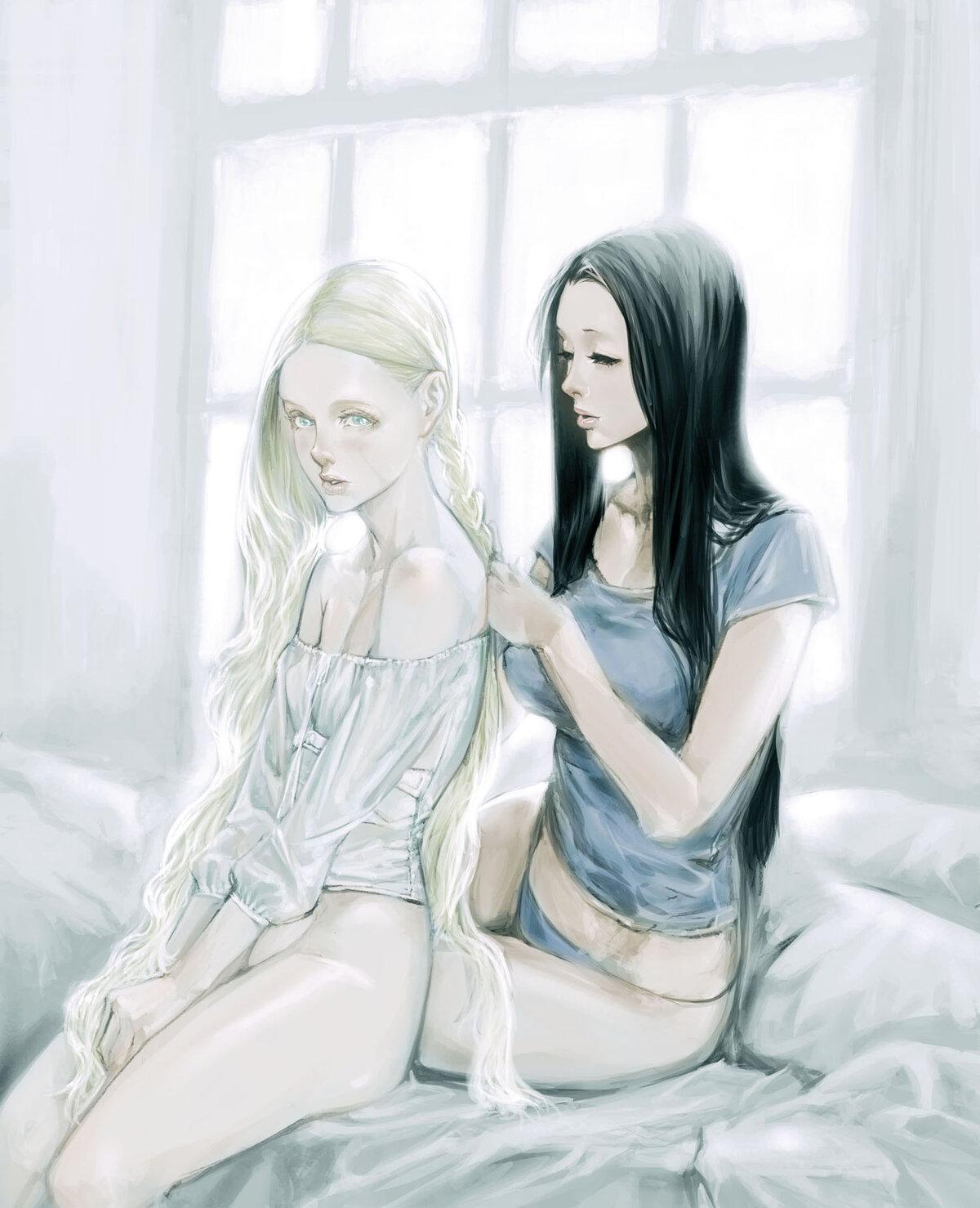 Картинки две девушки светлая и темные волосы