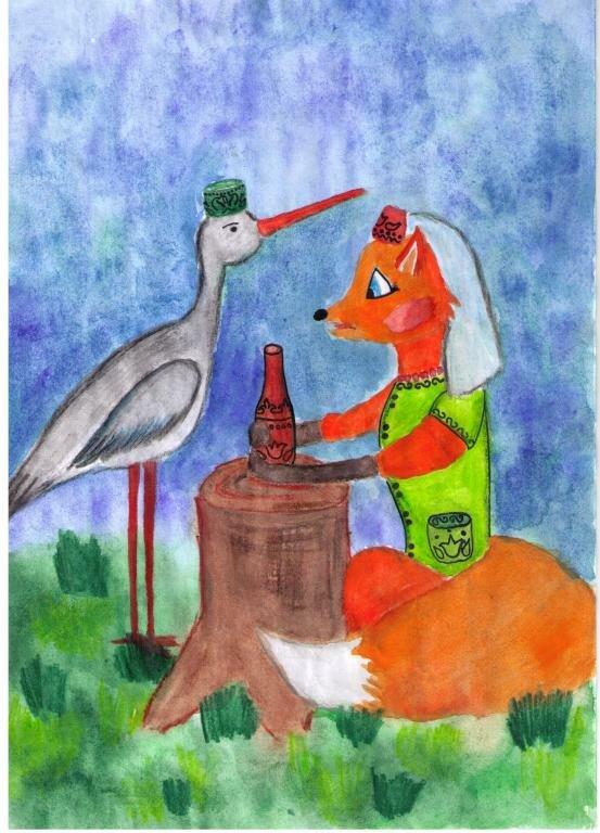 картинки или рисунки сказки лиса и журавль мародеров, момент