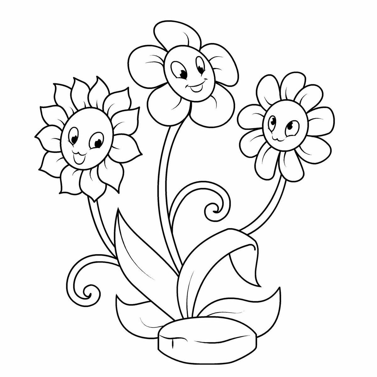 Картинки для детей раскраска ромашка