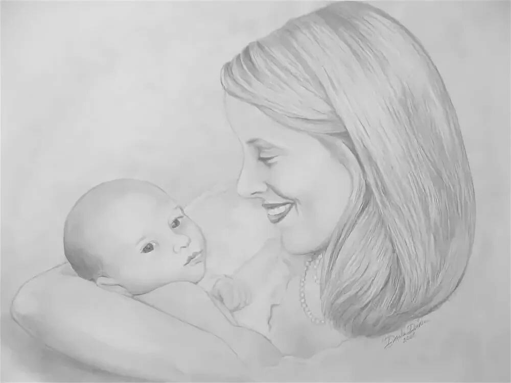 Рисунки мама и малыш карандашом