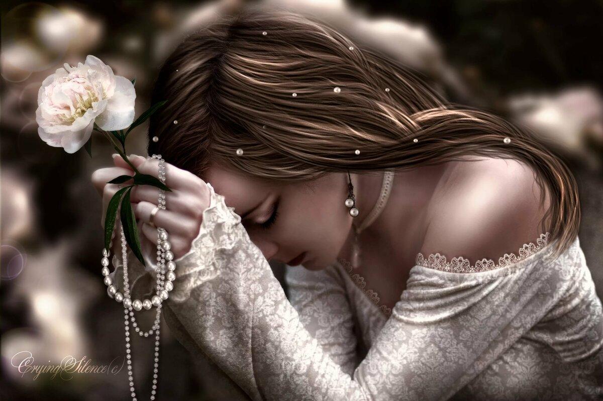 красивая картинка с цветком и слезой подвале