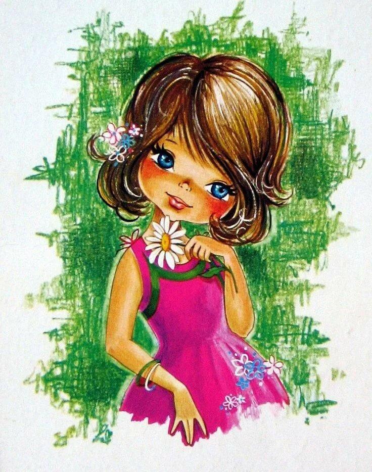 Девочка в ромашках открытка