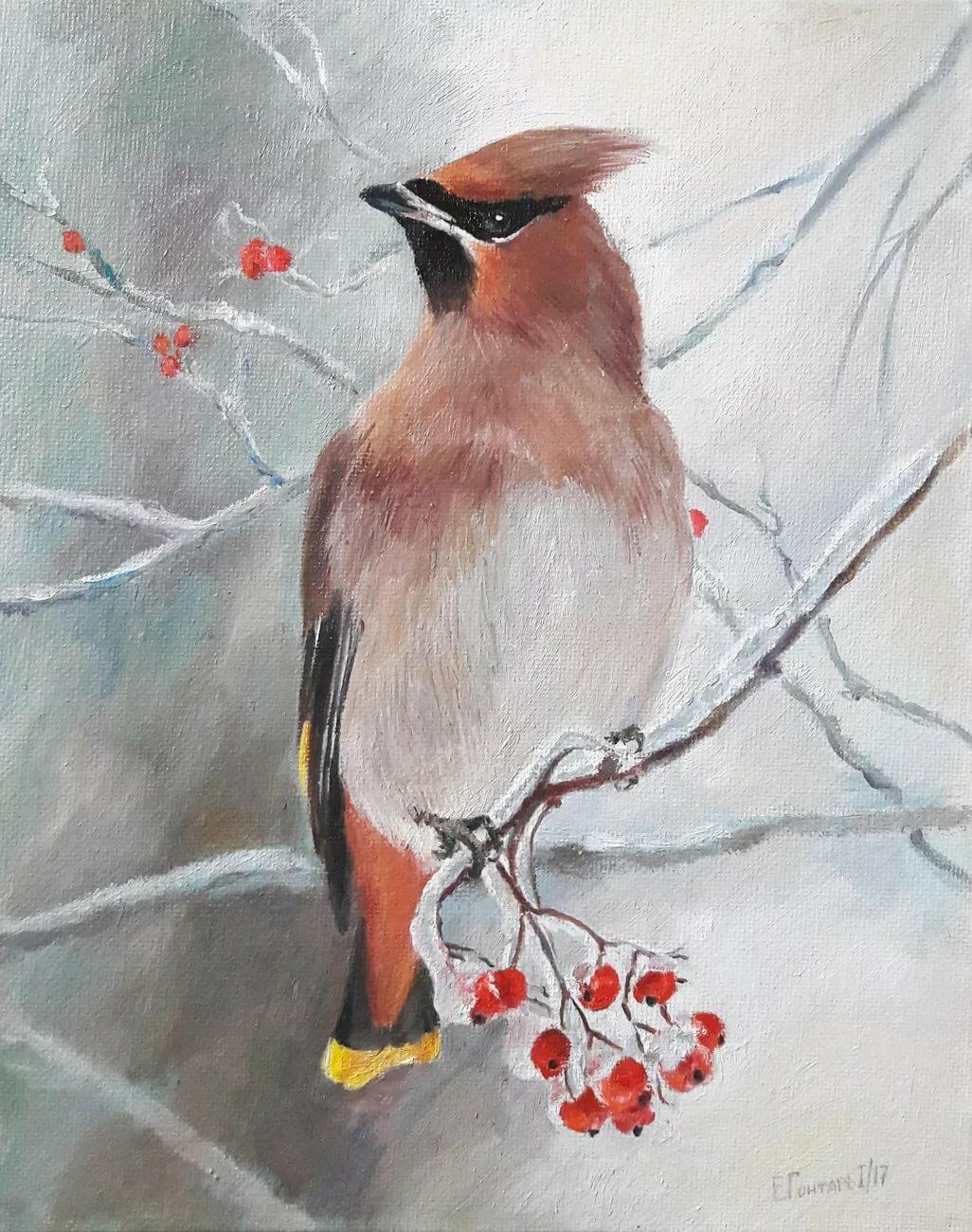 птица на ветке рисунок красками декоративные цветы