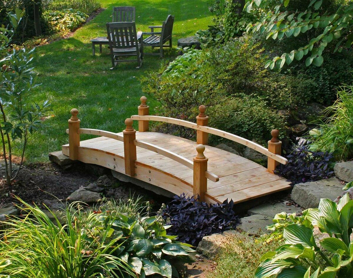 декоративные мостики для сада из дерева фото котором