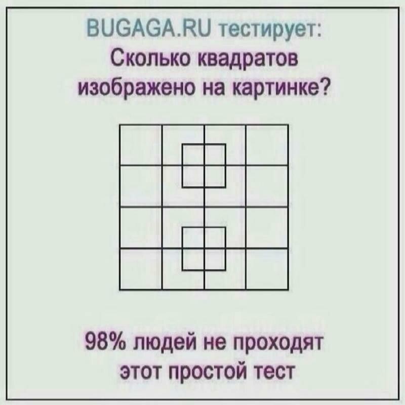 сколько квадратов изображено на этой картинке нас