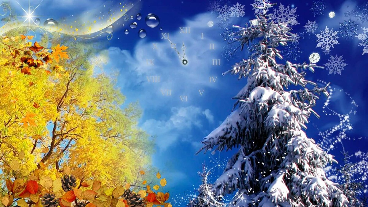 Осень зима в одной картинке