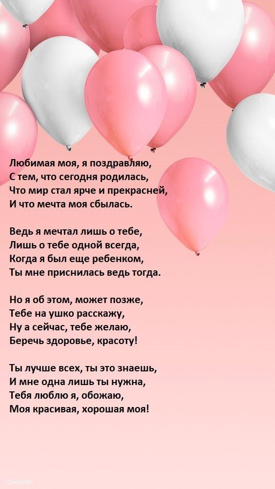 Текст поздравление с днем рождения девушке своими словами