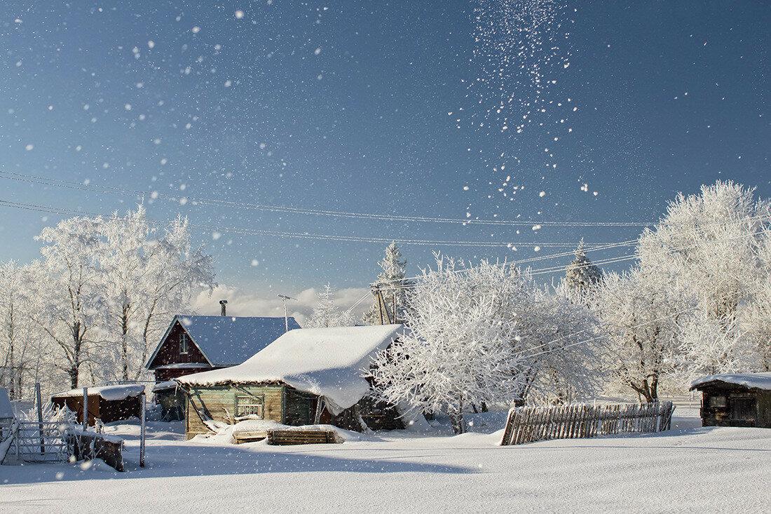 красивые фото зимних деревень