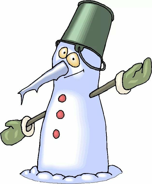 Картинка снеговик тает
