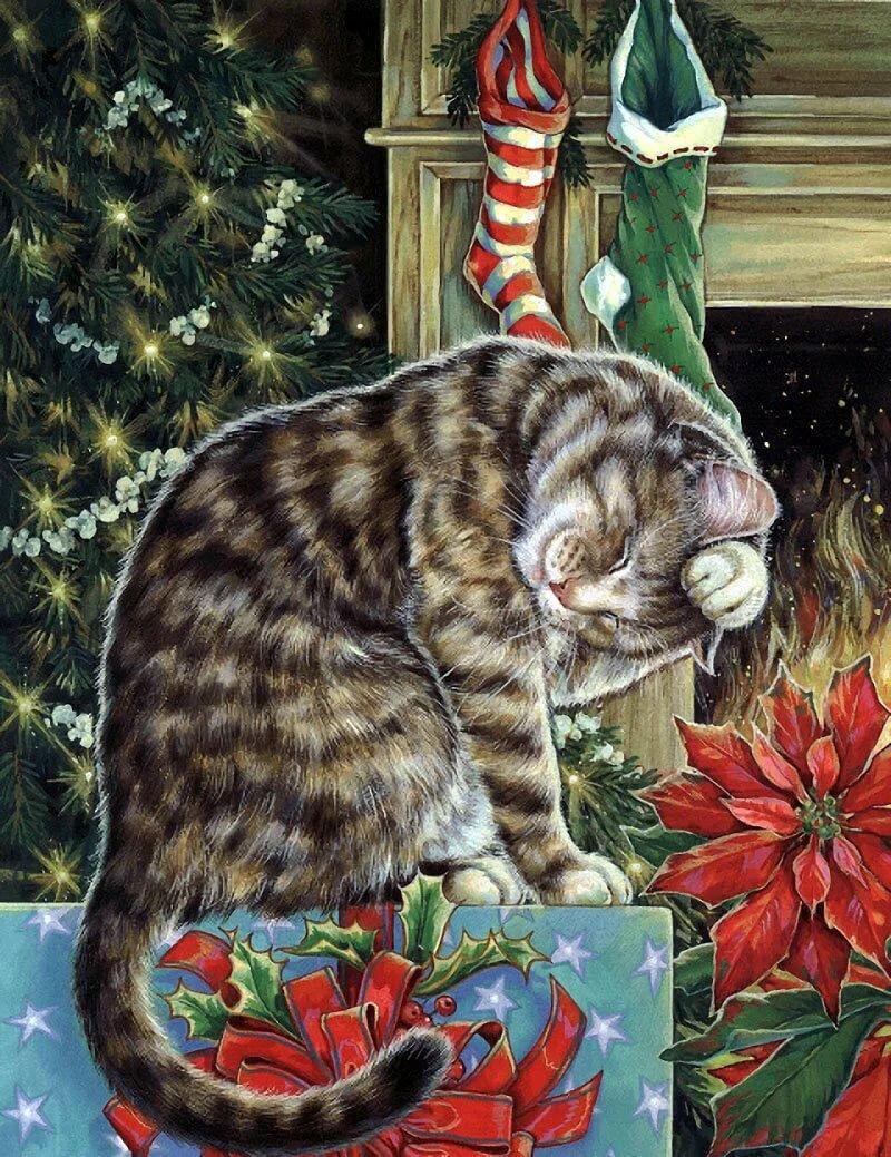 Кошки и елка картинки нарисованные