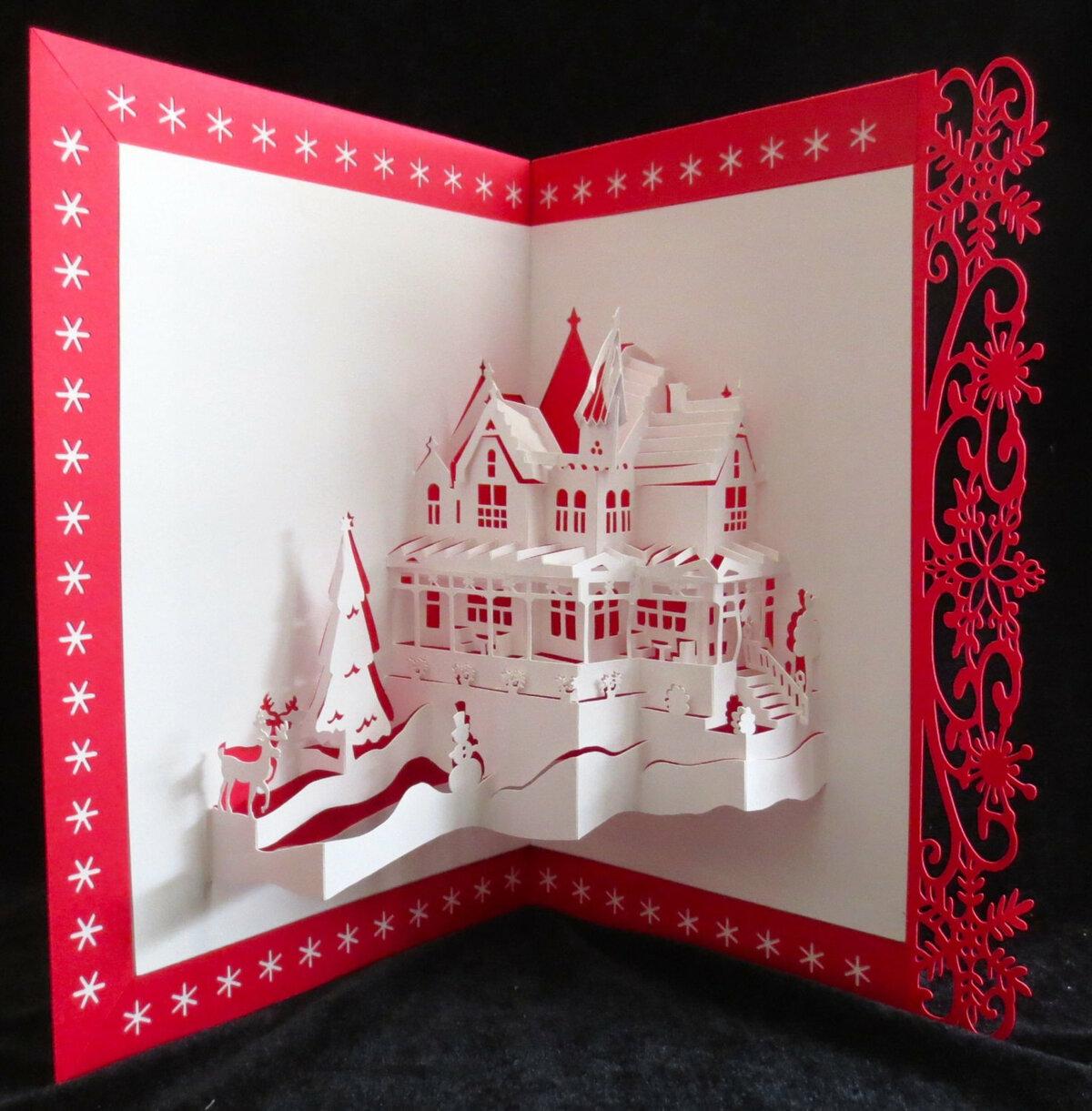 открытка с новым годом в технике оригами видно фото, она