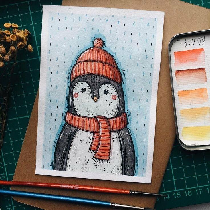 Новогодние картинки для срисовки в скетчбук