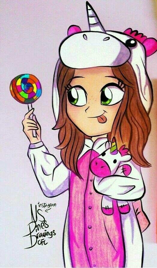 Картинка как нарисовать девочку в пижаме единорога