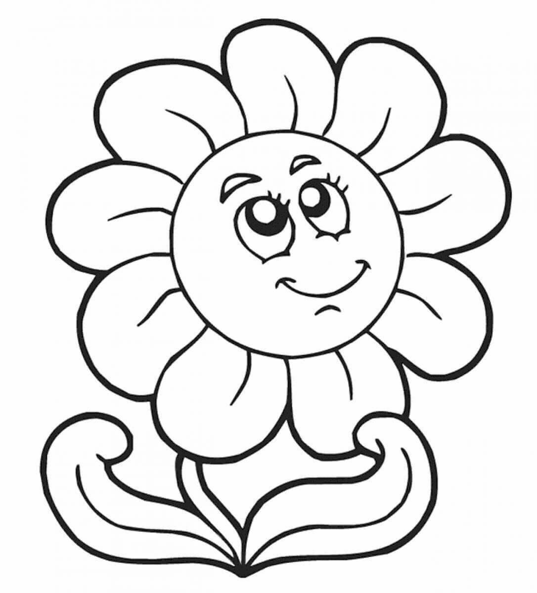 «Раскраска Цветы крупные - детские раскраски распечатать ...