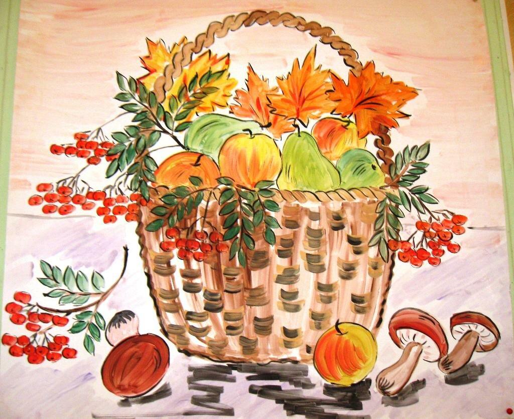 Нарисованные картинки тему осень