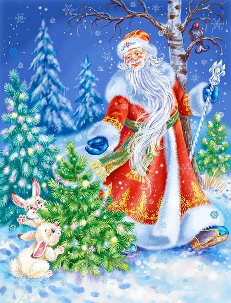 Новогодние открытки деда мороза