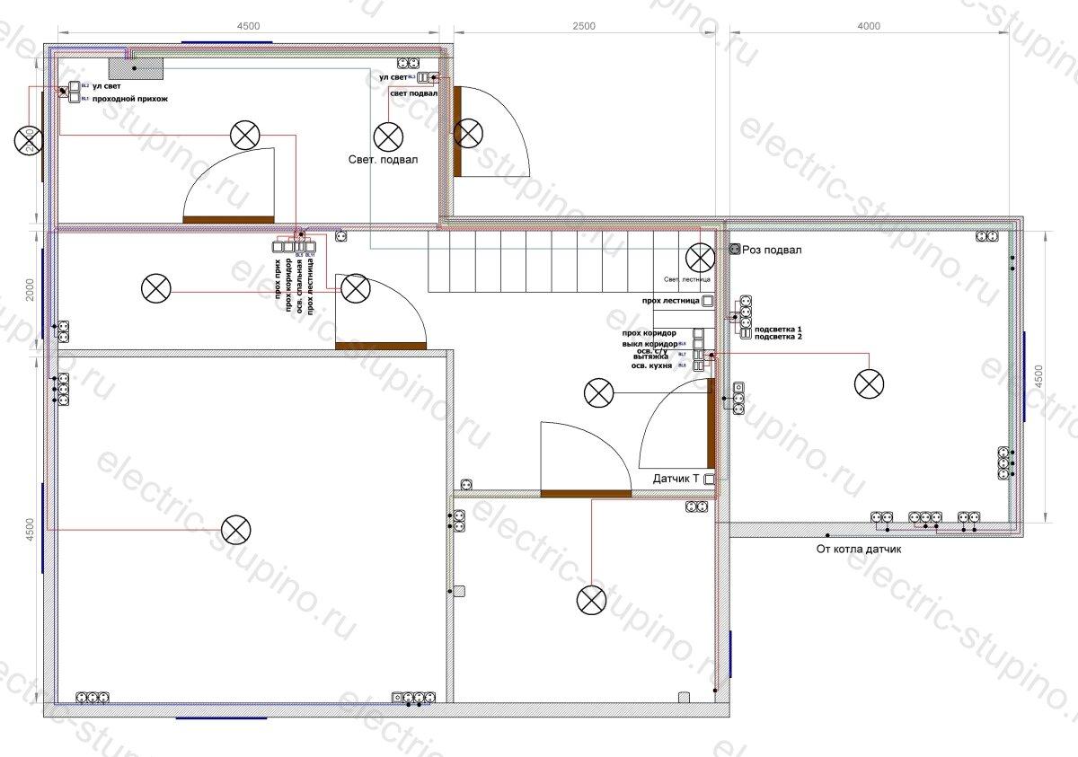 План расположения розеток и выключателей в частном доме