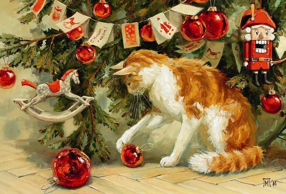 или новогодняя открытка с котами ритуальных услуг