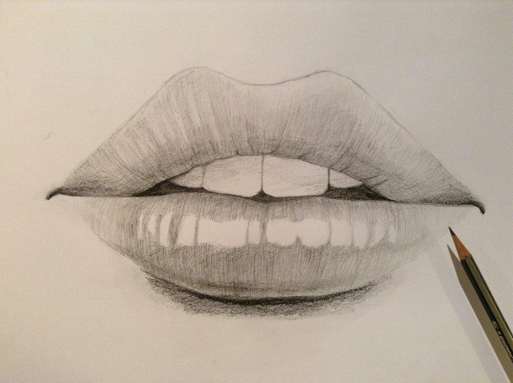 Картинка губы карандашом поэтапно