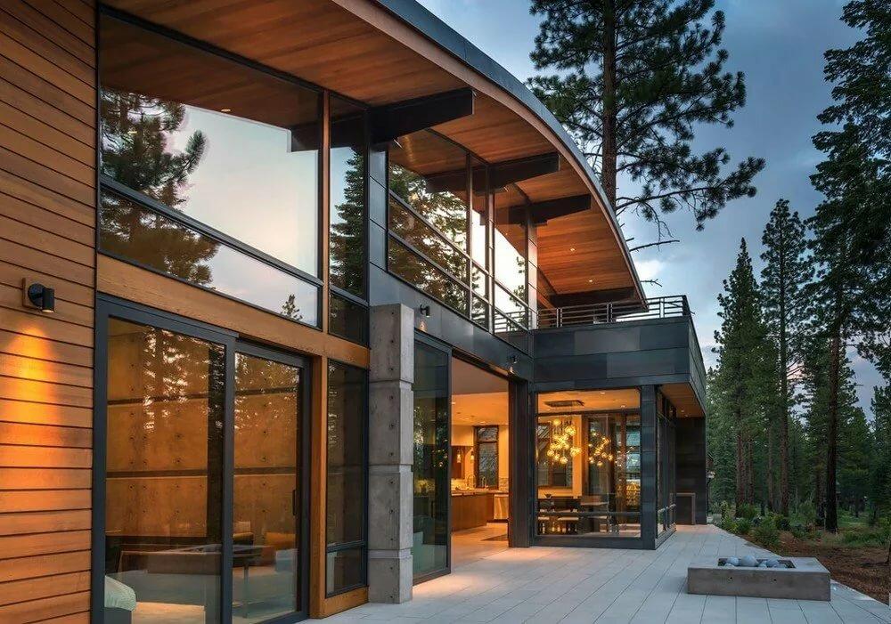 Дома из стекла и дерева фото чем