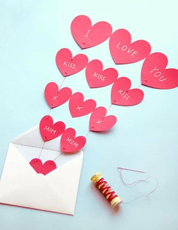Сердечки из цветной бумаги на день рождения с пожеланием