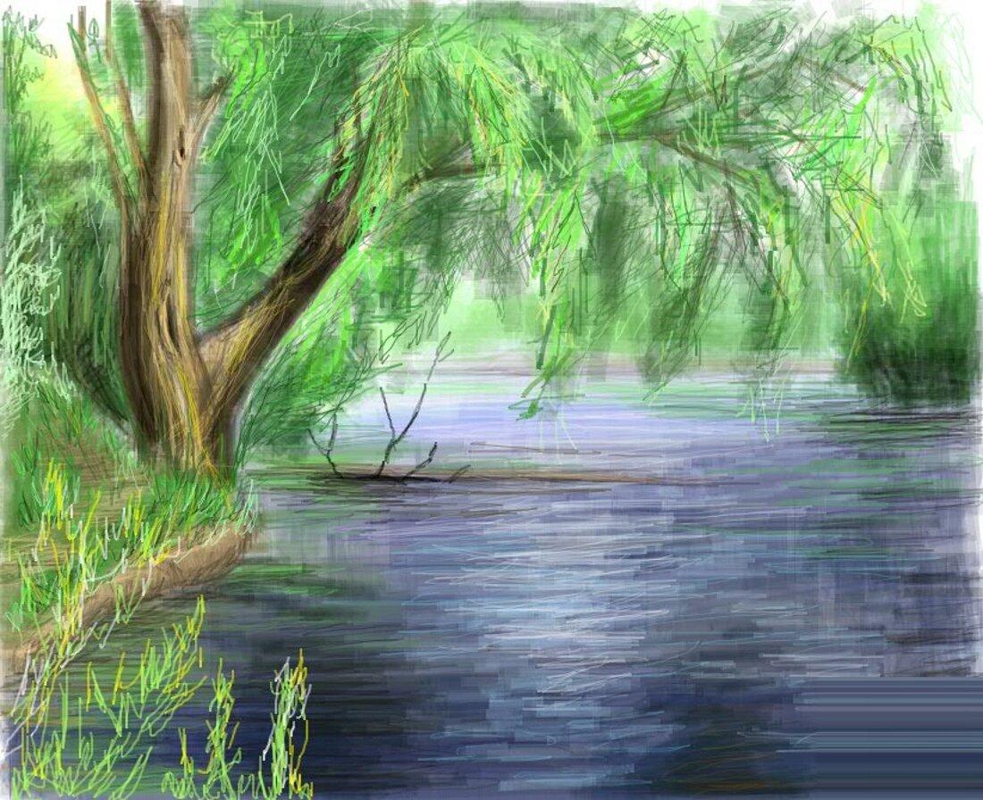берег реки рисунок этой