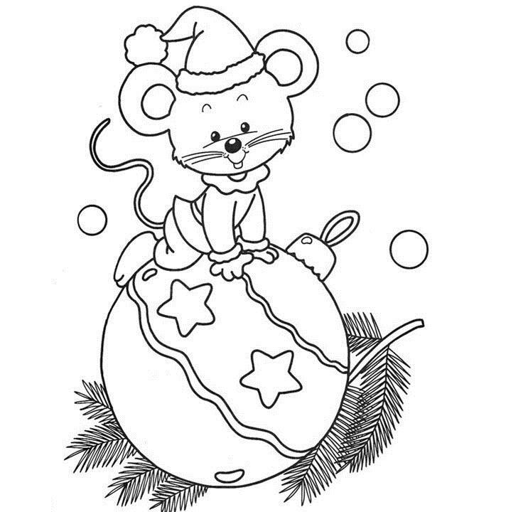 Раскраска к новому году для детей с мышами