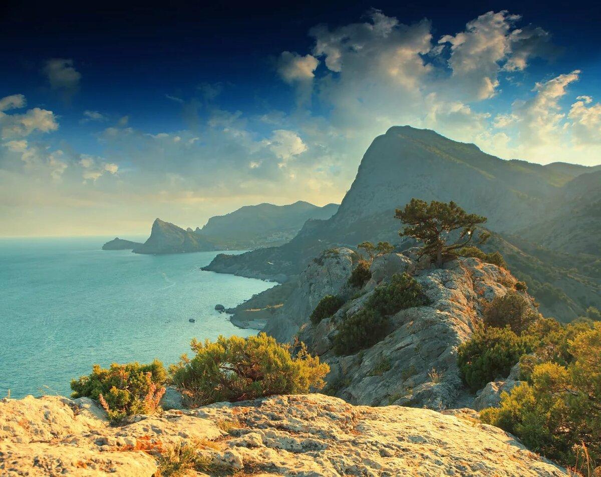 делаем кухни море горы рассвет фотообои в хорошем качестве тень