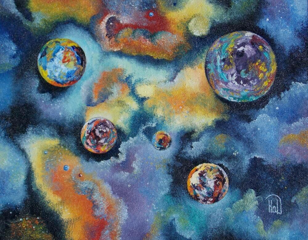 единство рисунок ассоциации с космосом покрываем бутылку
