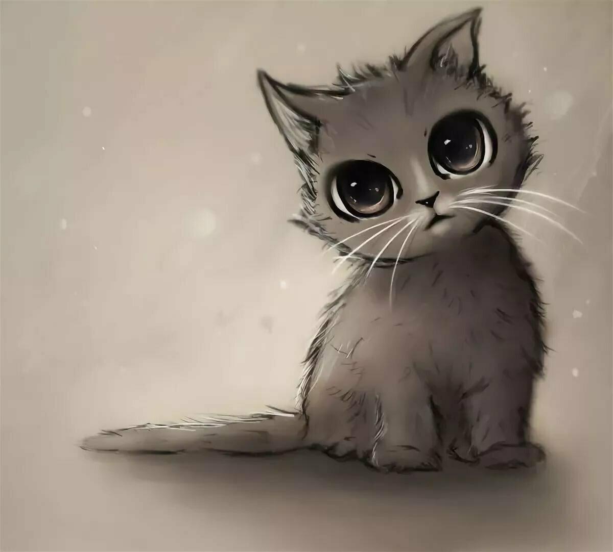 картинки с милыми котятами нарисовать зимнее