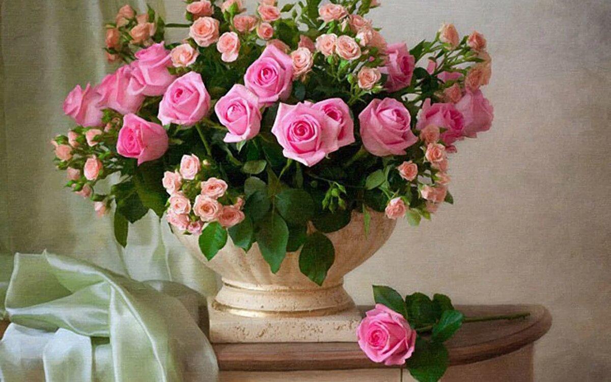 Картинки и фото розы в вазе