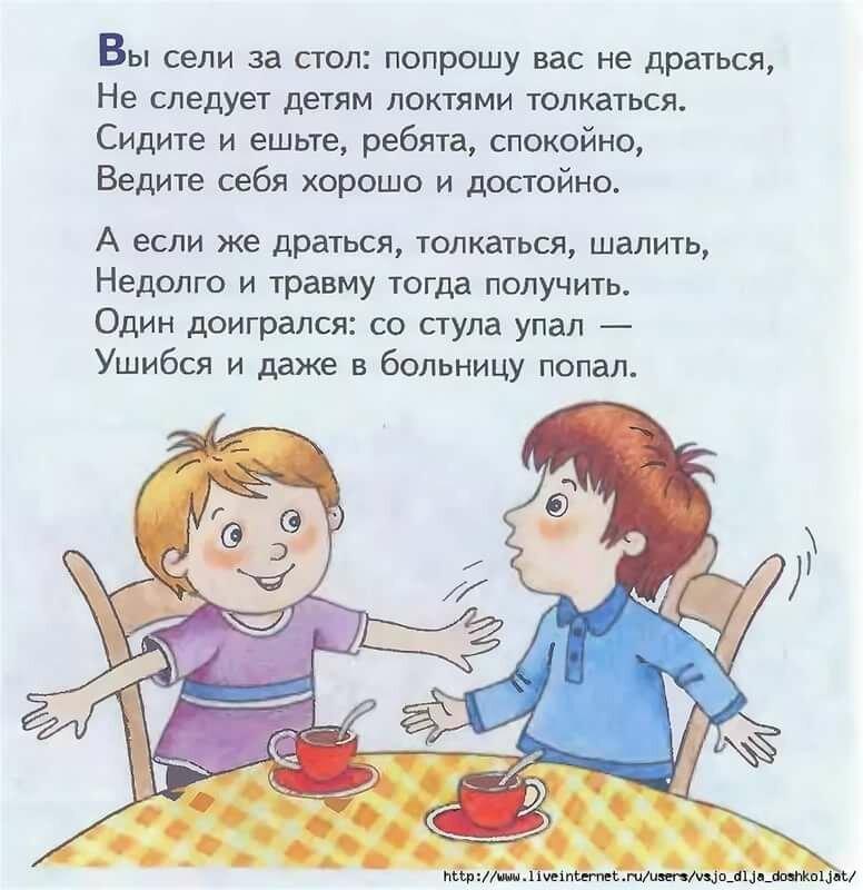 Правила поведения в столовой в картинках стихи