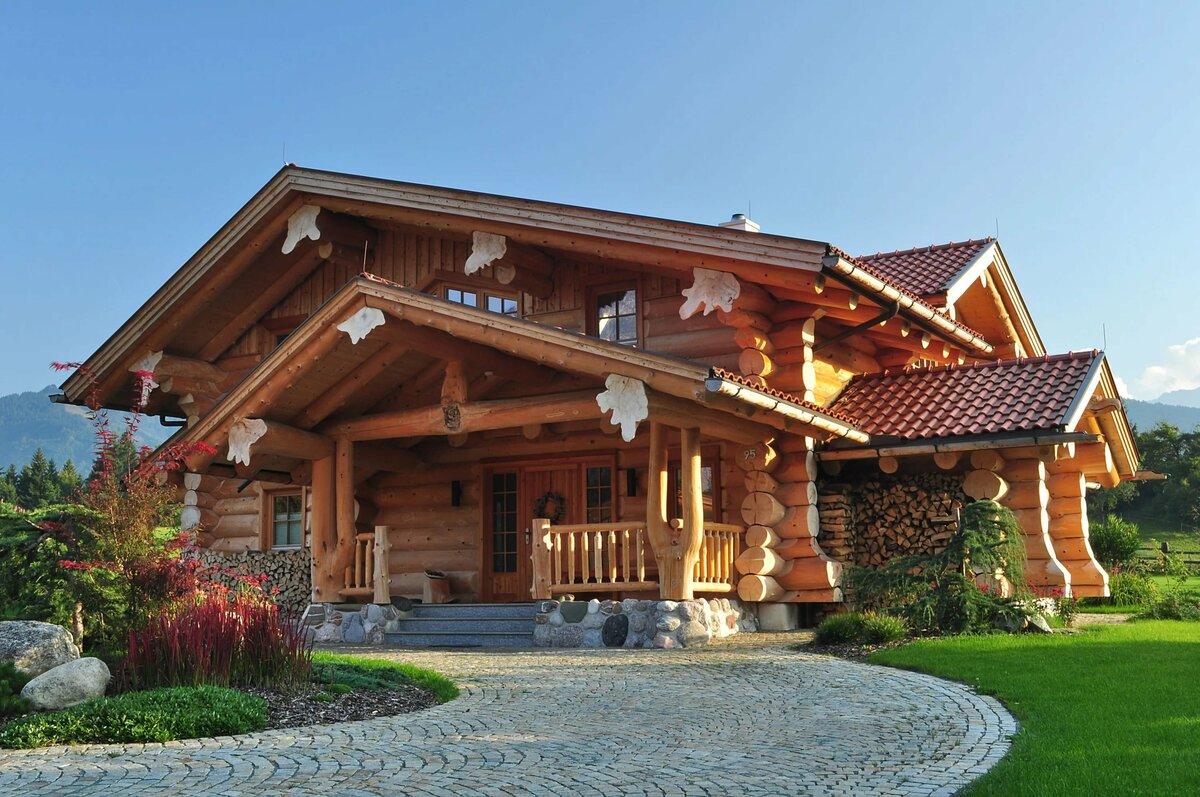 дома из сруба в стиле шале фото экологически чистый