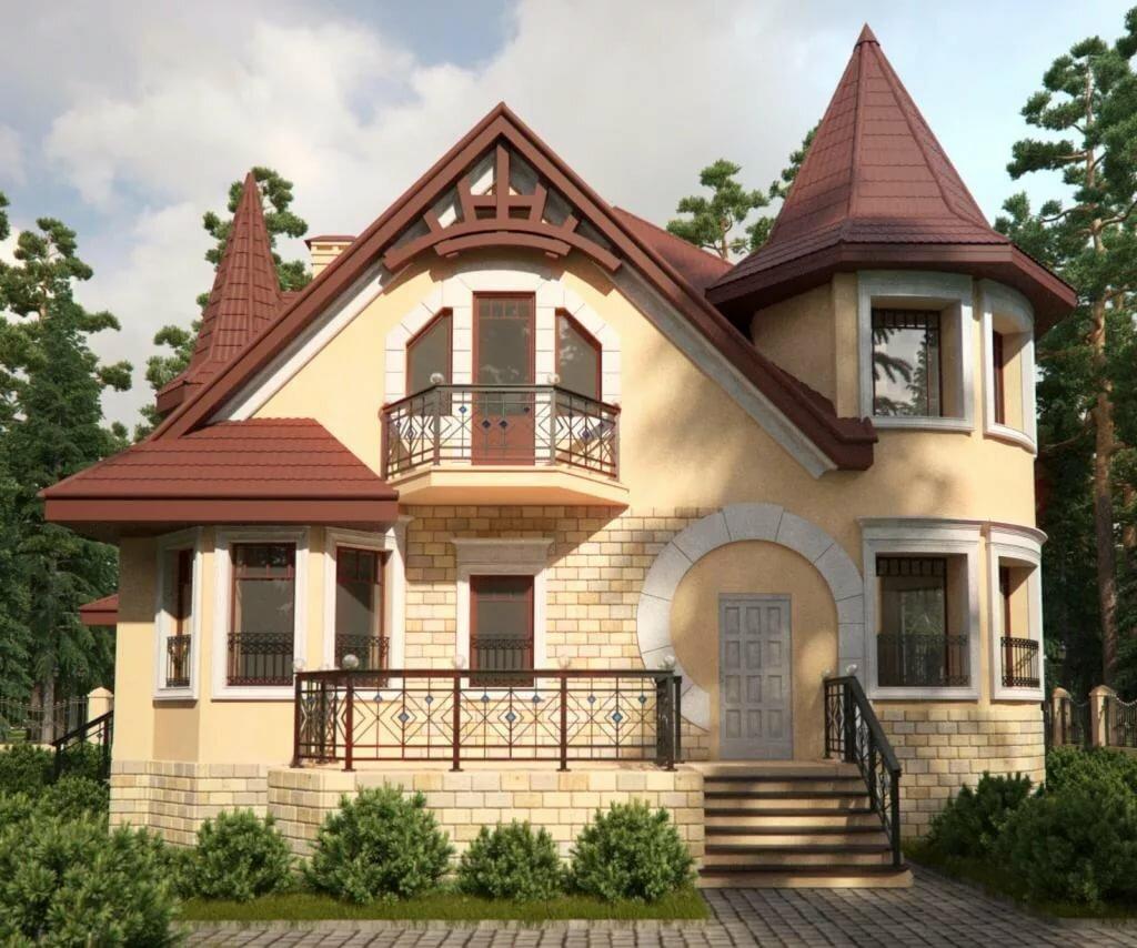 очень красивые фасады коттеджей фото большим