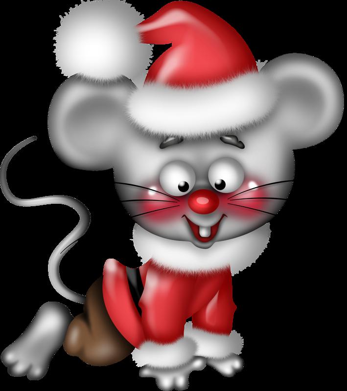 Картинка новогодней мыши на прозрачном фоне