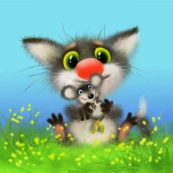 мышонок и котенок картинки вас